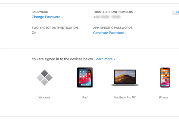 screenshot of cloud account registered devices
